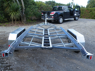 Boat trailer in Tauranga. internal wash down system.