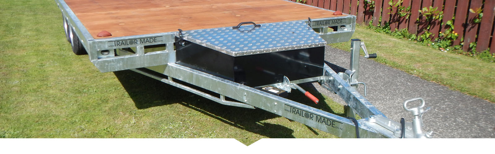 Front mounted galvanised plate tool box for trailers.