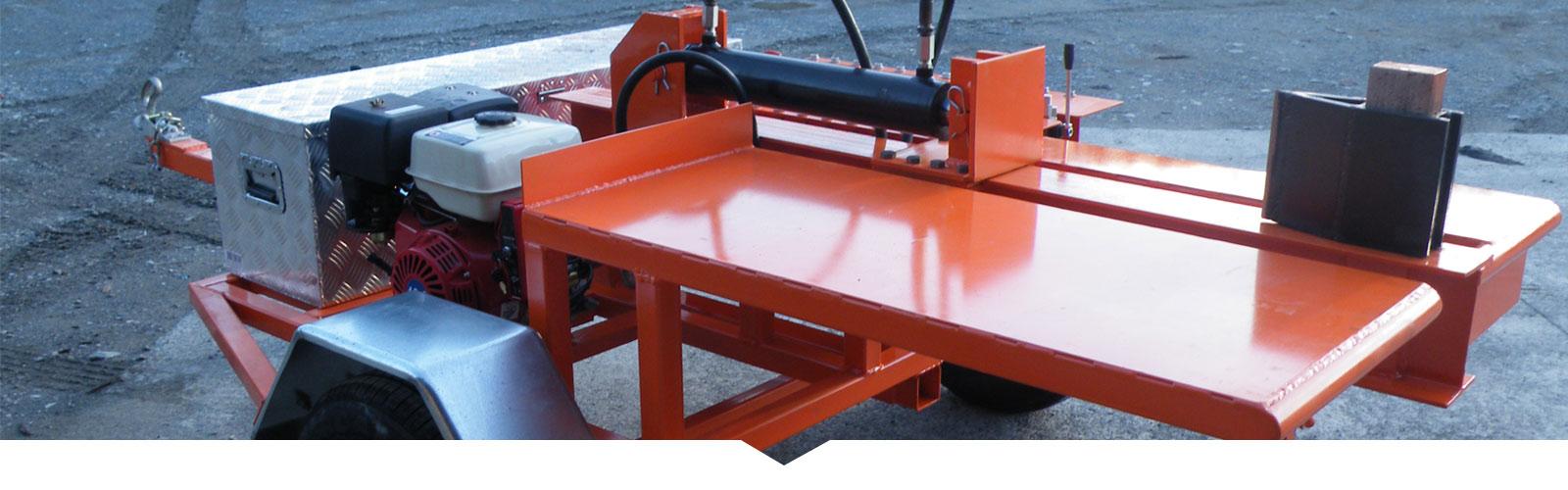 Close up of custom trailer for log spliter.