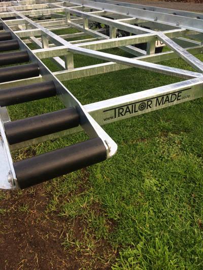 Custom built trailer rollers